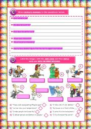 English Worksheet: Jobs+Places in Town+Transports - 7th grade test (Version B) 2/3