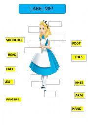 Label me - Alice in wonderland, version for girls