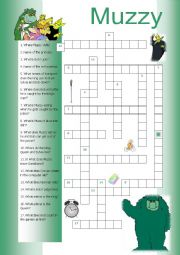 English Worksheet: Muzzy Crossword