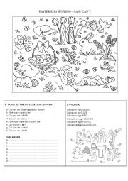 English Worksheet: EASTER EGG HUNTING - CAN / CAN�T