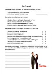 English Worksheets: The Proposal, movie report