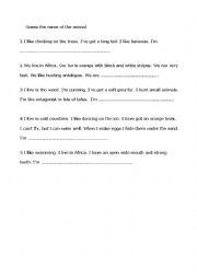 English Worksheets: guess the animal