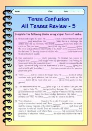 English Worksheet: Tense Confusion All Tenses (mixed) Review - 5