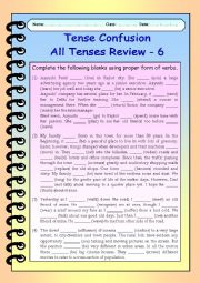 English Worksheet: Tense Confusion All Tenses (mixed) Review - 6