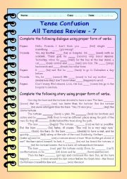 English Worksheet: Tense Confusion All Tenses (mixed) Review - 7