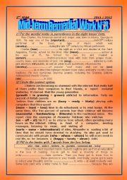 English Worksheet: mid-term remedial work n�3