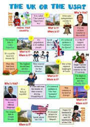 English Worksheet: The UK or the USA-board game 2