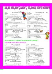 English Worksheet: AM/IS/ARE/ISN�T/AREN�T/DO/DOES/DON�T/DOESN�T
