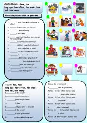 English Worksheets: HOW OFTEN, HOW LONG AGO, HOW WIDE, HOW, HOW TALL, HOW MANY