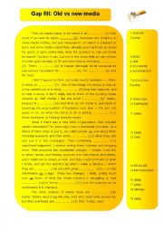 English Worksheets: media - old versus new media