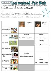 English Worksheets: Last Weekend - Pair Work