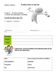 English Worksheets: WOMEN CHOOSE TO OPT OUT