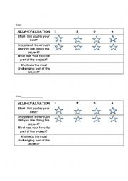 English Worksheets: Self Evaluation for Students
