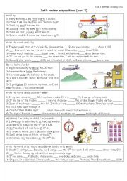 English Worksheet: PREPOSITIONS review: until, by / above, below, under / at, on, in [time] / along, across, over / into, in, out of