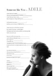 English Worksheets: Song Lesson - Someone like you by Adele