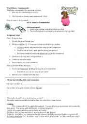 English Worksheet: Practice Word Emphasis with TV commercials!