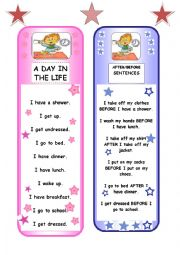 English Worksheets: BOOKMARKS - daily routine + prepositions