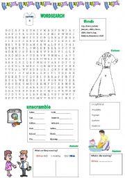 English Worksheet: CLOTHES EXERCISES