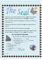 English Worksheets: The Seal Reading Comprehension
