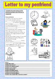 English Worksheets: letter to my penfriend