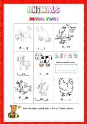 English Worksheets: Early Spelling Skills - 16 Animals