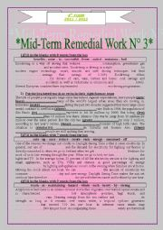 English Worksheet: mid term remedial work n�3