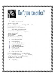 English Worksheets: Don�t you remember By ADELE
