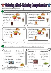 English Worksheet: Ordering a Meal - 2 Listening Comprehensions