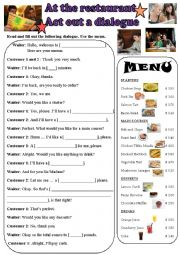 English Worksheet: Ordering a Meal - Act out a dialogue!