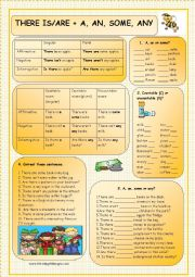 English Worksheet: THERE IS/ARE + A, AN, SOME, ANY (+KEY)