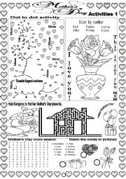 English Worksheet: MOTHER´S DAY ACTIVITIES 1