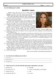 English Worksheet: Test 9th grade (Jennifer Lopez)
