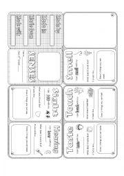 English Worksheets: Senses Minibook