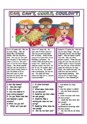 English Worksheet: CAN, CAN�T, COULD AND COULDN�T