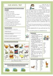 English Worksheet: Our School Trip (Farm Animals)