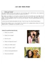 English Worksheet: Let�s meet Selena Gomez
