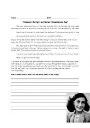 English Worksheet: Anne frank Holocaust Day