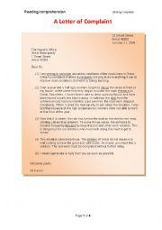 A letter of complaint essay