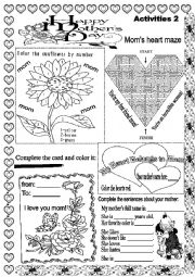 English Worksheet: MOTHER´S DAY ACTIVITIES 2