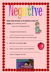 English Worksheets: Negative using �not�