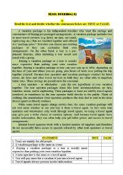 English Worksheet: Test: TOURISM (1)