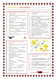 English Worksheets: TOO MUCH / TOO MANY/ ENOUGH