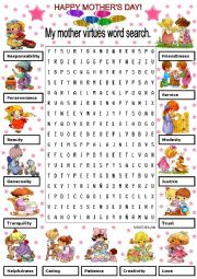 English Worksheet: MY MOTHER VIRTUES WORD SEARCH