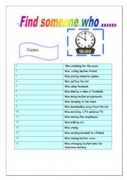 English Worksheet: Find someone who/past continuing actions