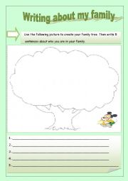 English Worksheets: writing about my family