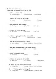 English Worksheet: UK and USA quiz