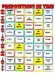 prepositions of time board game