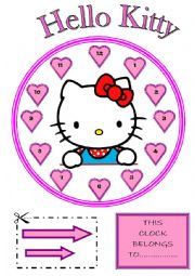 English Worksheet: Learning the time with Hello Kitty