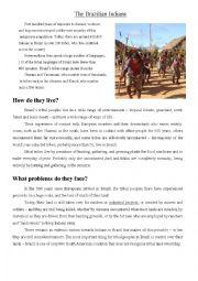 English Worksheet: The Brazilian Indians
