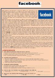 English Worksheet: Facebook